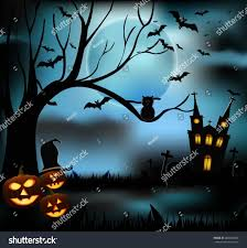 halloween castle grave yard background spooky stock vector