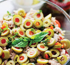 pasta salad with tuna tuna pasta salad with pimiento stuffed olives starfinefoods