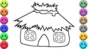 tropical house coloring pages drawing for kids learn colors
