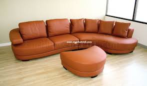Curved Couch Sofa Curved Sectional Sofa In Burnt Orange Leather