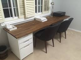 double desk 98 inch oak ikea numerar butcher block with walnut