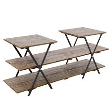 retail display wooden table with mulitple levels trestle table