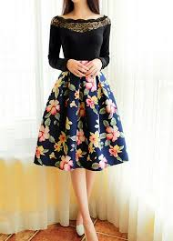 high waisted skirt i like the floral print high waist flare pleated midi skirt high