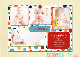 first birthday party invitation rainbow polka dot 1st