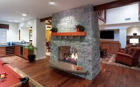 Traditional Double Sided Kitchen 20 Gorgeous Two Sided Fireplaces For Your Spacious Homes
