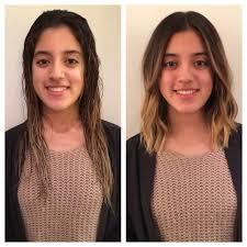 before and after haircut textured bob long bob beach waves