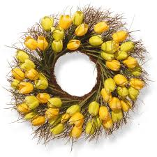 tulip wreath national tree company 24 inch yellow tulip wreath free shipping