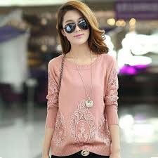 buy fall winter women sweaters and pullovers knitted lace shirt