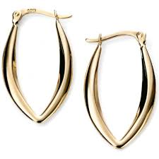 9ct gold hoop earrings elements gold 9ct gold marquise shaped hoop earrings from