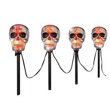 Lighted Halloween Costumes by Amazon Com Lighted Halloween Yard Stakes Skull Patio Lawn U0026 Garden