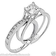 white gold wedding ring 2 ct princess cut 2 engagement wedding ring band set solid