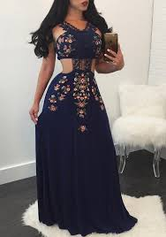 vintage dresses navy blue patchwork lace backless floral print vintage mexican maxi
