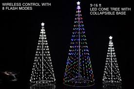 192 u2033 16 ft outdoor multi color led cone tree w collapsible base