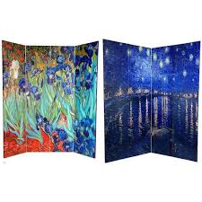 Acrylic Room Divider Canvas 6 Foot Irises Starry Night Over Rhone Room Divider China