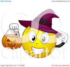 cartoon of a halloween witch emoticon holding a pumpkin bucket