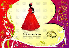 Wedding Invitation Cards Download Free Wedding Invitation Card Bride In Red Dress On Romantic Sparkling