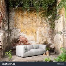 vintage decor modern sofa wall stock photo 336523412