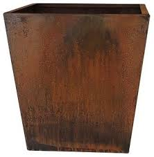 nice corten tapered square planter transitional outdoor pots