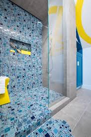photos hgtv blue mosaic tile spills from shower onto floor to with
