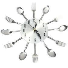 3d wall clock stainless steel knife fork modern design large