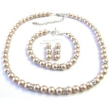 pearls necklace sets images Champagne pearls jewelry simulated diamond spacer necklace sets jpg