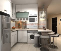 modern kitchen concept for small apartment with white tile