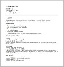 Resume Sample For Cashier At A Supermarket Temp Worker Resume Example Free Templates Collection