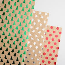 foil wrapping paper christmas foil kraft wrapping paper rolls set of 3 world market