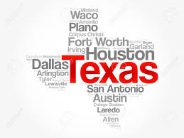 Texas Map Cities List Of Cities In Texas Usa State Word Cloud Map Concept