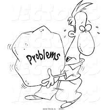 vector cartoon man carrying heavy problem rock coloring