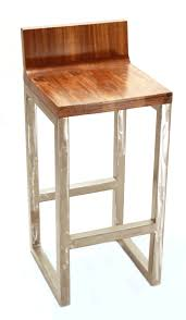 Modern Counter Height Chairs Furniture Chrome Metal Counter Stool With Brown Wooden Square
