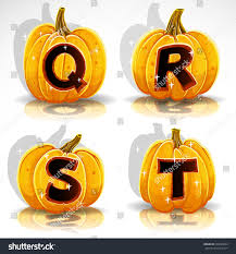 happy halloween font cut out pumpkin stock vector 294569093