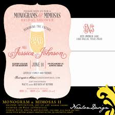 nealon design mimosas monograms bridal shower invitation the new version has a vertical orientation with the champagne flute centered i added the monogram information and registry list to the front of the design