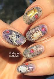 ehmkay nails love kittens nail art with multichrome flakie jelly