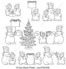 drawing snowman christmas tree outline christmas