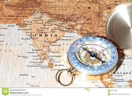 Ancient India Map Travel Destination India Ancient Map With Vintage Compass Stock
