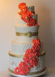coral wedding cakes coral wedding cake picture coral and mint wafer paper wedding