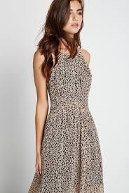 shirred leopard print maxi dress