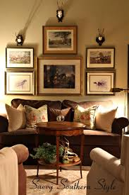 english country mix room roe deer antlers gallery wall
