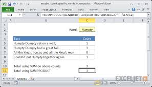 How To Count Number Of Words In Word Document Excel Formula Count Specific Words In A Range Exceljet