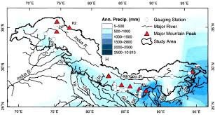 Himalayan Mountains Map Regional Crustal Thickness And Precipitation In Young Mountain