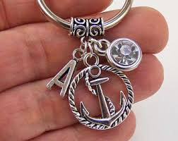 personalized keychain party favors anchor keychain etsy