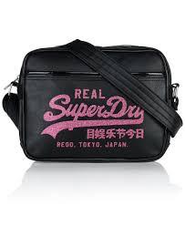 alumni bags womens glitter mini alumni bag in black shocking pink superdry