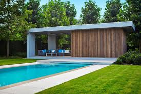 Pool House Modern Poolhouse In Trespa En Hout Bogarden Buiten Pinterest