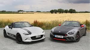 mazda mx5 abarth 124 spider vs mazda mx 5 bbr twin test review by car magazine