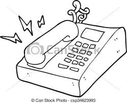 dessin de bureau blanc téléphone noir bureau dessin animé téléphone vecteurs