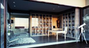 stylish bookcase with glass doors home design exterior