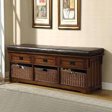 entryway bench with baskets and cushions aesthetic ikea hallway storage bench using square rattan baskets
