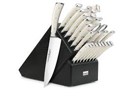 wusthof kitchen knives wusthof classic ikon creme knife block set 26 black