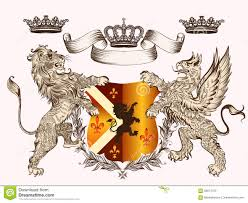 wappen designer heraldisches design mit wappen greif löwe und kronen in vektor